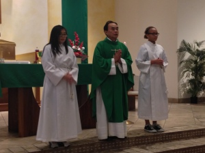 Fr. Bui celebrating Mass for the students.