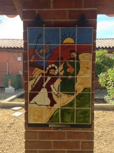 Stations of the Cross were designed by the kids and made of tiles.
