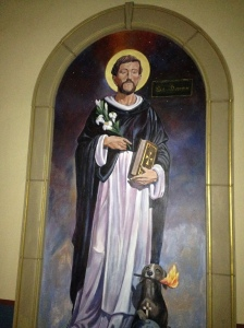 A mural of their founder, St. Dominic, a Spaniard.