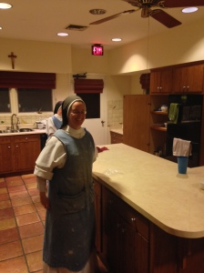 Sister Mary Grace happily serves in the kitchen!