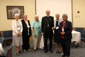 Bishop Olmsted and the Jubiliarians: Sr. Anne Fitzsimons, Sr. Anne Marie Smith, Sr. Jovanna Stein, Sr. Christine Athans and Sr. Maria Celia Molina.