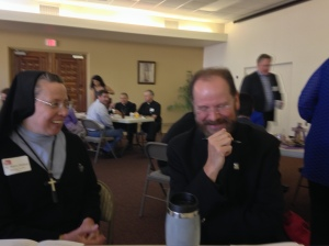 Sr. Mary Dolora makes Fr.  Fred Adamson laugh!