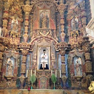 Altar and Sanctuary adorned by Saint Francis Xavier.