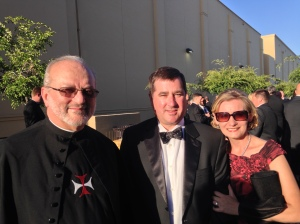 Father Robert Rossi, CSC with Mr. and Mrs. Joe Lange, CEO of Catholic Cemeteries