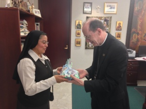 Madre Virginia gave Bishop Olmsted a gift!