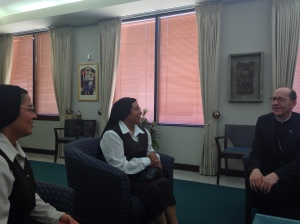 Madre Virginia and Hermana Maria del Socorro visiting with Bishop Olmsted.