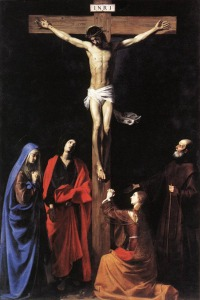 Christ on the Cross with the Virgin Mary Magdalene, St. John and St. Francis of Paola by Nicholas Tournier (1590-1639)