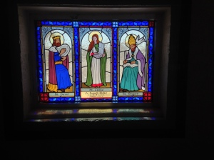 Stained glass window dedicated to Fr. Kenneth Walker, FSSP