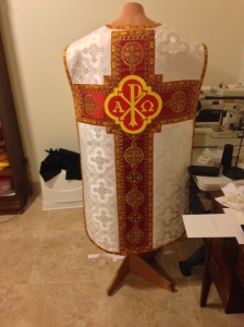 A priest would wear this for the Holy Sacrifice of the Mass.