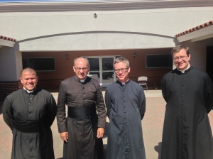 Fr. Joseph Terra with new priests, Fr. Michael Passo on his left and Fr. Howard Remski on his right.