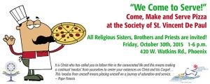 Pizza Night for Religious to Make and Serve Pizza at the Society of St. Vincent de Paul on October 30, 2015.