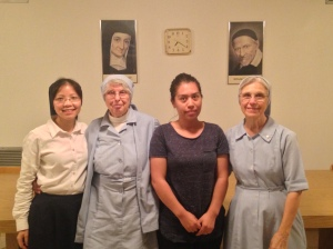Sr. Marie, Sr. Loretta, Cynthia and Sr. Cabrini