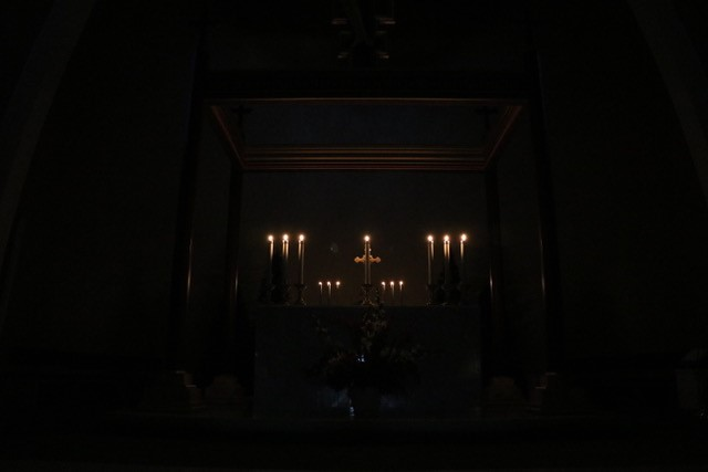 Altar in the dark Cathedral